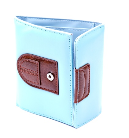 billfold: Blue leather wallet isolated on white background Stock Photo