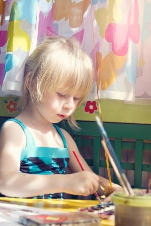 baby girl painting Stock Photo - 13653618