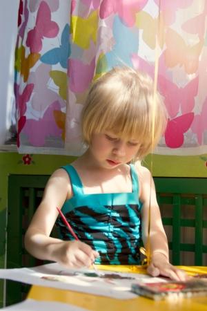 baby girl painting Stock Photo - 13653617