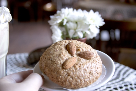 Homemade almonds cookies in white porcelain photo