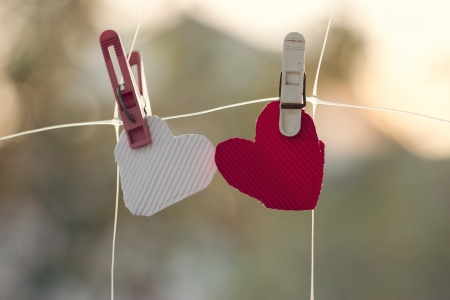 Two homemade hearts on line in front of nature photo