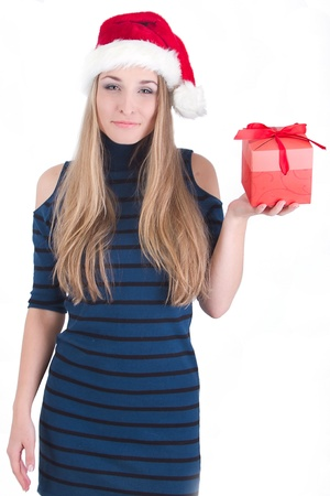 happy young girl with gift box photo