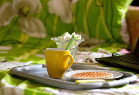 Round wafers and tea, breakfast near laptop photo