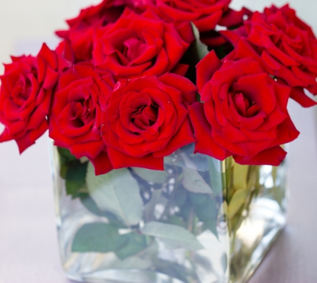 Bunch Of Red Rose Flowers In A Square Vase Stock Photo Picture And