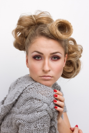 Pretty blond winter sweater woman photo