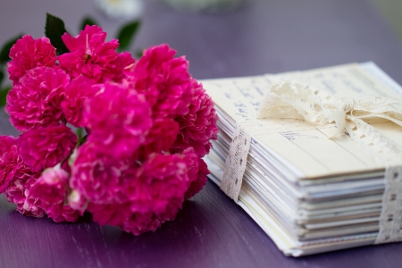 stack of old letters tied with lace ribbon with roses Stock Photo - 17342606