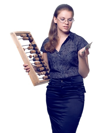 girl with wooden abacus keeps money in the hands of