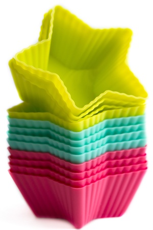 Colorful cupcake silicon molds Stock Photo