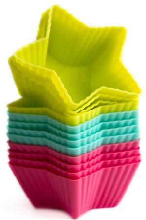 Colorful cupcake silicon molds Standard-Bild