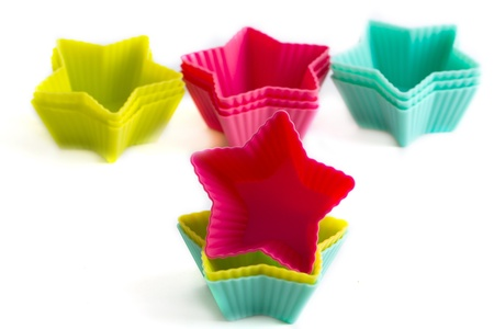 Colorful cupcake silicon molds photo