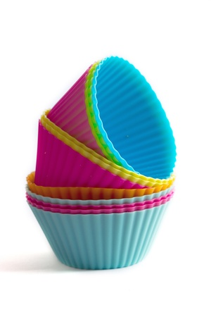 cake decorating: Colorful cupcake silicon molds Stock Photo