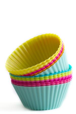규소: 다채로운 컵 케이크 실리콘 형 스톡 사진