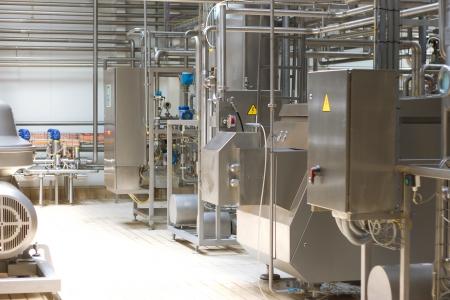 Dairy Plant. Conveyor with milk  bottles.