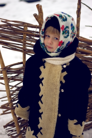 Baby girl's portrait in old russian style with pavlovsky posad shawls photo