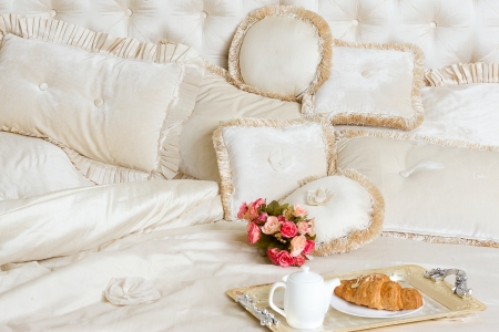 bedclothes: breakfast in bed on a tray Stock Photo