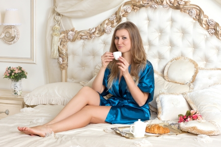 Morning coffee or tea in bed photo