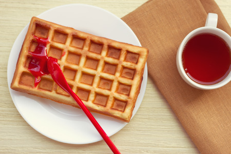 Belgian waffles for breakfast or tea time photo