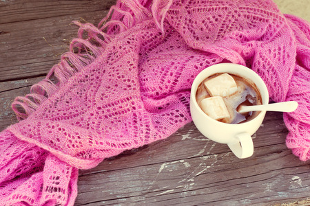 A rich cup of hot chocolate wrapped in a cozy winter scarf photo