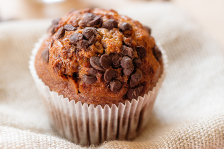 pumpkin seed: Homemade dark muffin with a chocolate chips