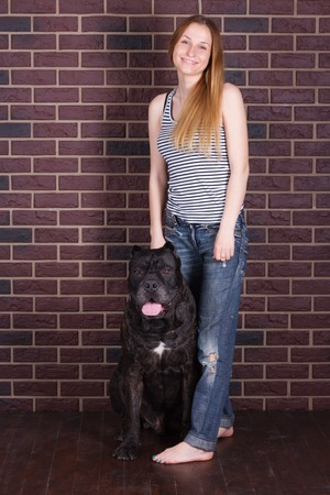 cane corso: girl in jeans and shirt standing near the wall and hugging a big dog Cane Corso