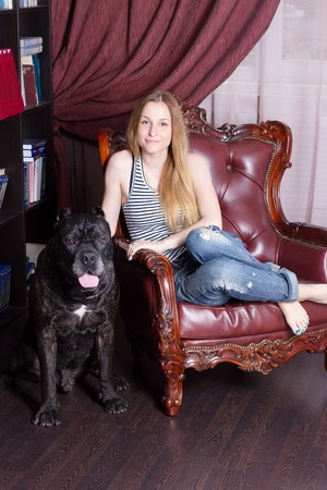 cane corso: girl sits in a chair in the home library next to his dog Cane Corso