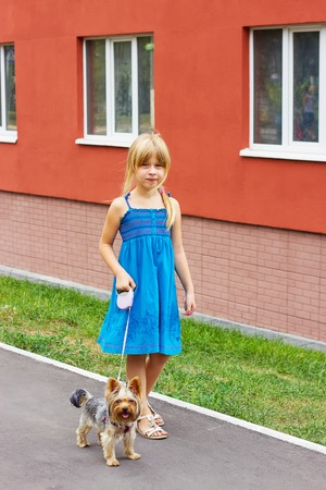 6 years girl: Girl 6 years old in a blue dress walking with a Yorkshire terrier near a high-rise building