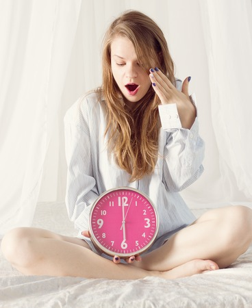 early pregnancy: Beautiful woman over sleeping in the morning