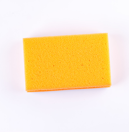 appliances: colored sponges close up cleaners, detergents, household cleaning sponge for cleaning on white background Stock Photo