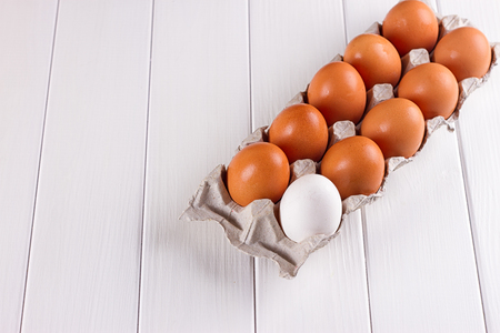 duck egg: Container of ten eggs. Nine eggs brown one egg white. on white background.