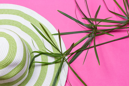 Beach hat and coconut leaves on pink background Stock Photo