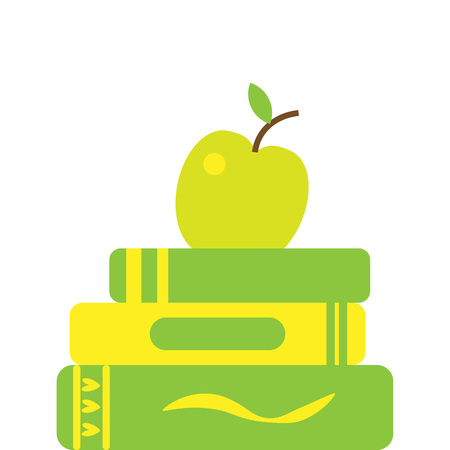 Colored line icon of pile of books and apple I love reading concept for libraries, book stores and schools. Vector illustration isolated.