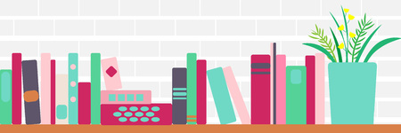 vector illustration of bookshelves with retro style books and flowers Vettoriali