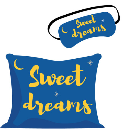 Set sleep mask and pillow. an icon in a flat style isolation on a white background