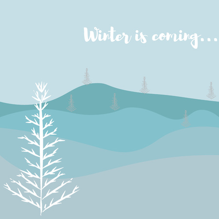 vector illustration with forest and winter trees and text winter is coming.