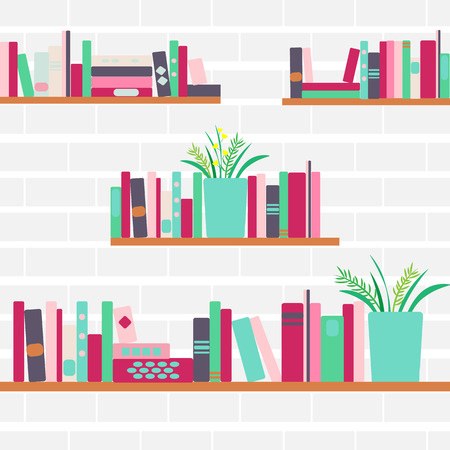 Vector illustration of bookshelves with retro style books and flowers