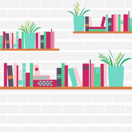 Vector illustration of bookshelves Illustration