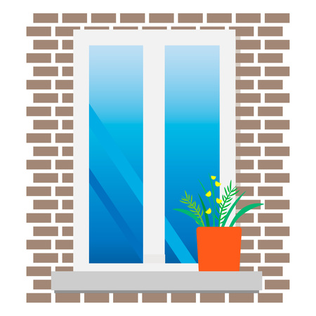 window with flowers Stock Vector - 105947656