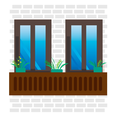 Illustration of close windows with pots of flowers
