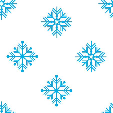 Vector illustration. Seamless pattern. Winter ornament blue snowflakes. For wrapping paper Illustration