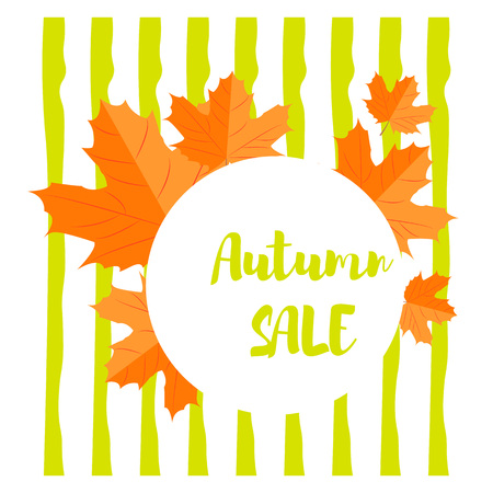 Vector illustration. Set of autumn yellow leaves and round emblem with text autumn sale with background of horizontal lines