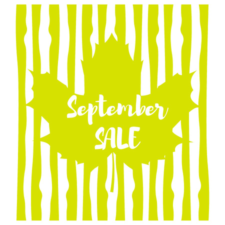 Vector image. Emblem in the form of a maple leaf with a background image of a vertical line. Inscription september sale