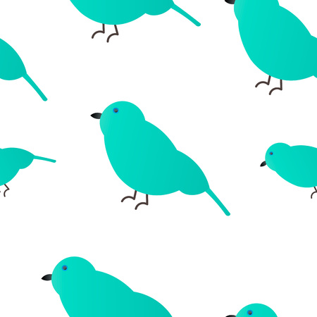 Vector illustration. Seamless pattern. Emerald Sparrow White Background Illustration