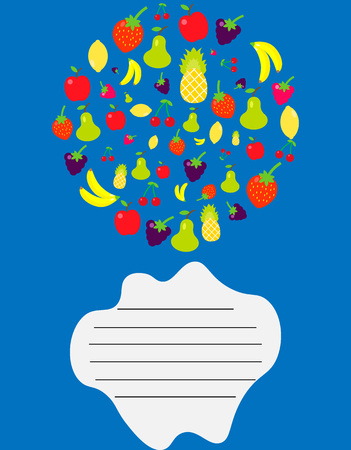 Vector illustration. Cover for a school notebook with a place for text. With a picture of fruit