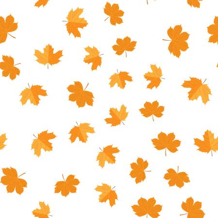 Ilustración vectorial Patrón sin fisuras de otoño hojas amarillas al azar