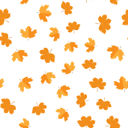 Vector illustration. Seamless pattern of autumn yellow leaves randomly Illustration