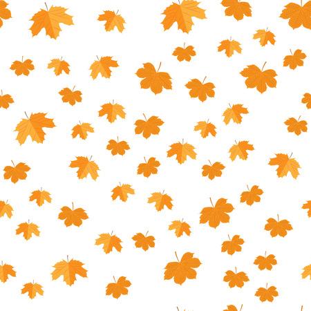 Vector illustration. Seamless pattern of autumn yellow leaves randomly Ilustrace