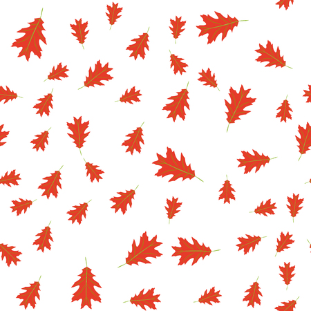 Vector illustration. Seamless pattern of autumn red leaves randomly