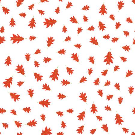 Vector illustration. Seamless pattern of autumn red leaves randomly