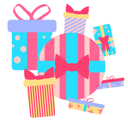 Vector illustration. Set of presents in the style of a flat