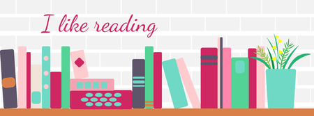 vector illustration of horizontal banner of bookshelves with retro style books Illustration